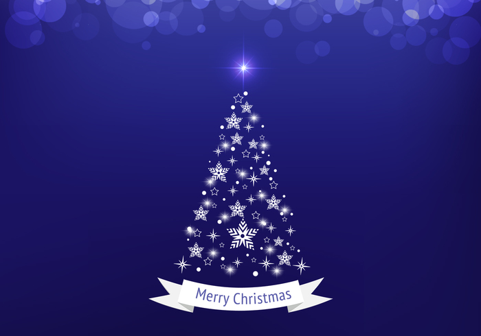 Blue Bokeh Christmas Tree PSD Background