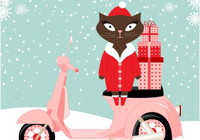 Cute Cat Santa PSD Background