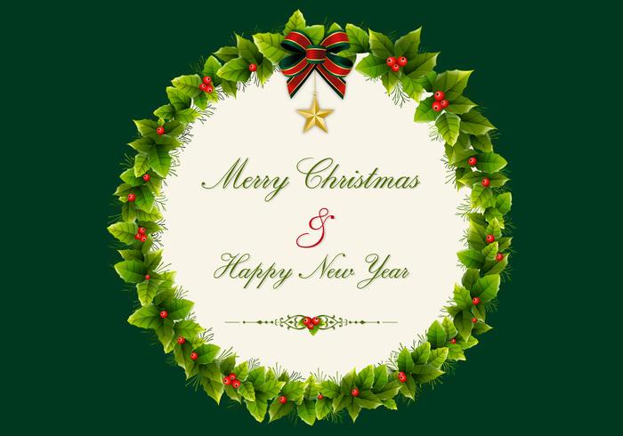 Christmas Holly Wreath PSD Background