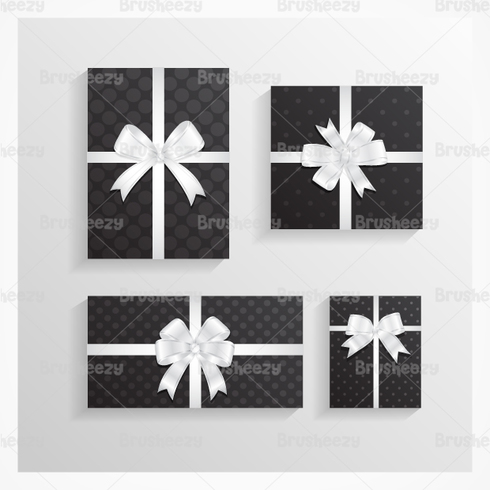 Black Polka Dotted Christmas Gift PSD Pack