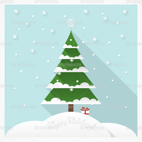 Snow Covered Christmas Tree PSD Background