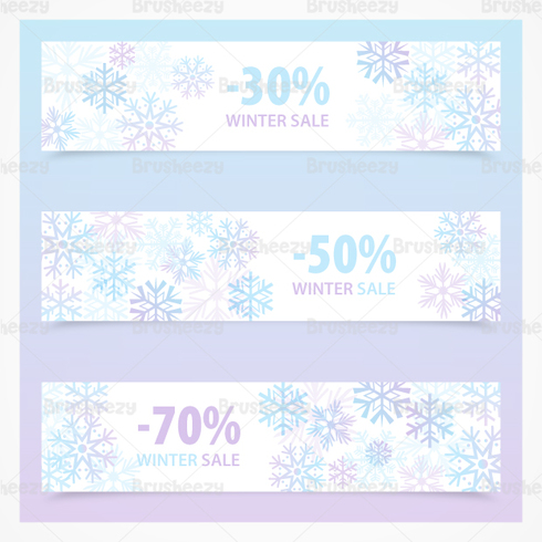 Snowflake Invierno Venta Banner PSD Pack