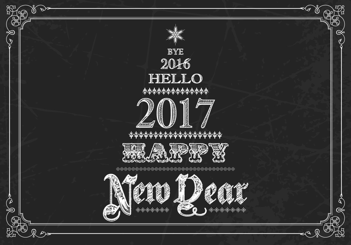 Chalk Drawn New Year PSD Background