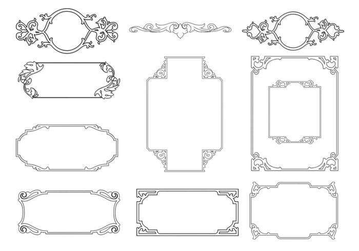 Outlined Ornamental Frame Brushes Pack