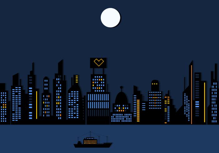 Night Time City Skyscraper Wallpaper PSD