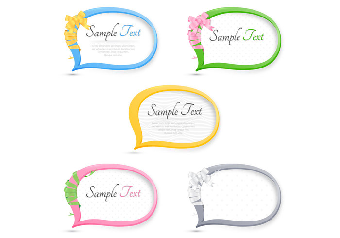 Ribbon Wrapped Speech Bubble PSD Pack
