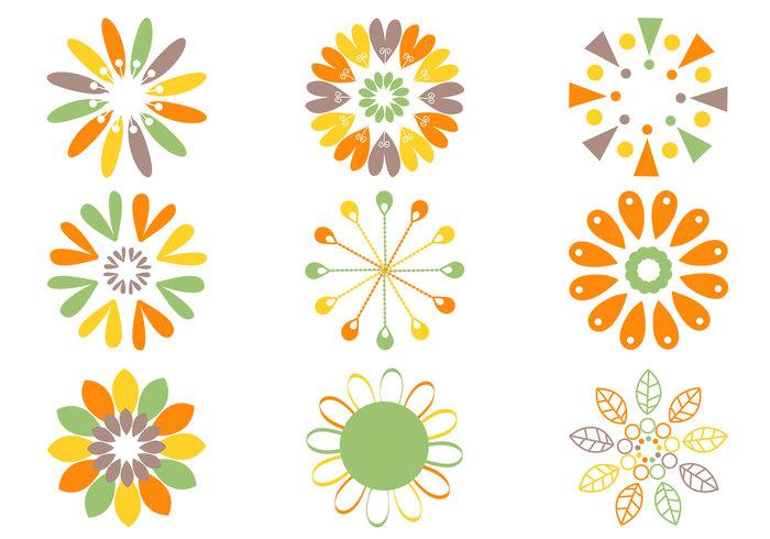 Retro blomma borstar pack