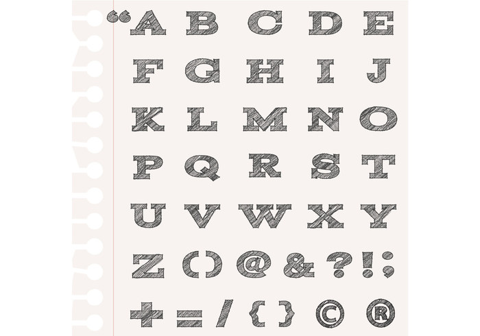 Sketchy Alphabet Brushes and Punctuation Brush Pack