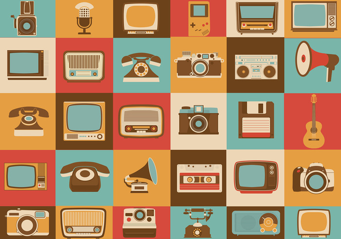 Retro Media Brush Icons Pack