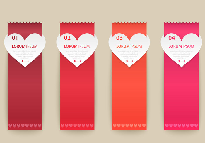 Heart Ribbon Banner PSD Pack