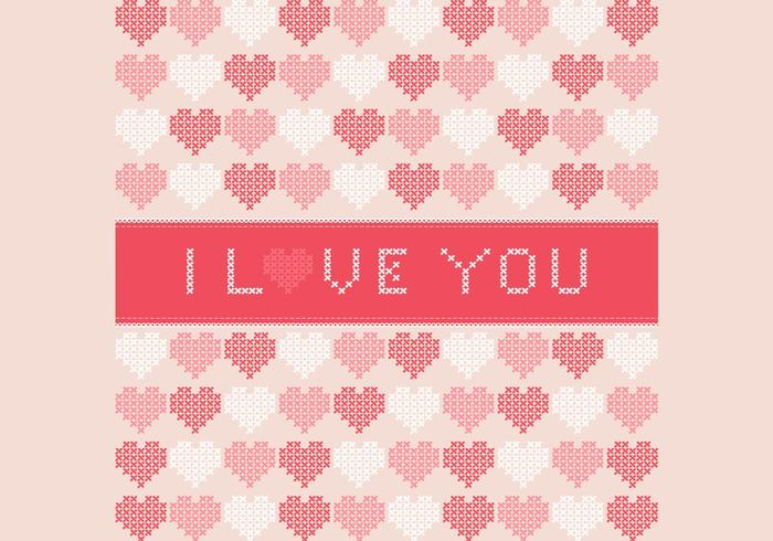 Cross Stitched I Love You PSD Background
