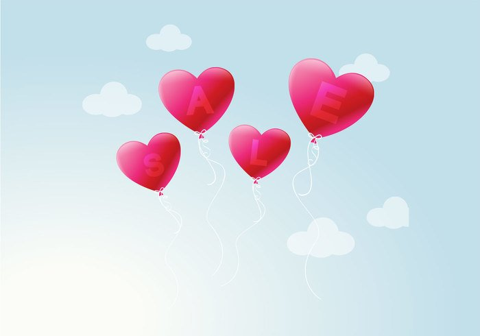 Heart Balloon Sale PSD Background