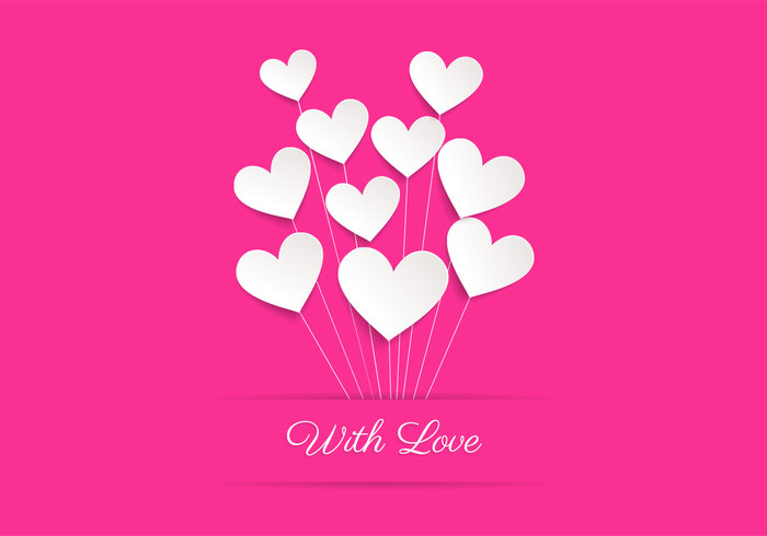 Pink Heart Balloon Love PSD Background