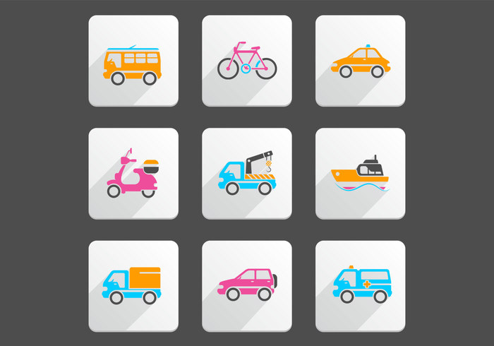 Bright Transportation PSD Icon Pack