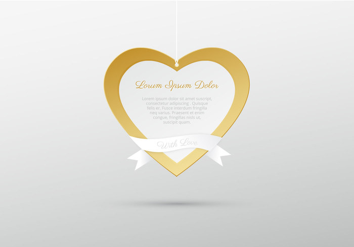 Hanging Golden Heart PSD Background