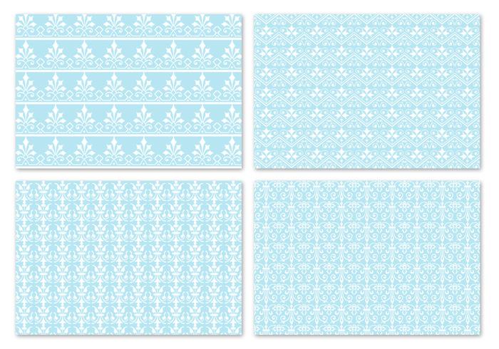 Winter Blue Damask Pattern Pack