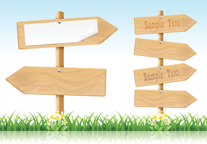 Wooden Arrow Signs PSD Pack