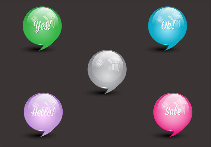 Glossy Speech Bubbles PSD