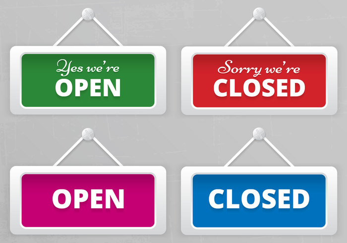 Open and closed hanging sign boards psd free photoshop for Open closed sign template