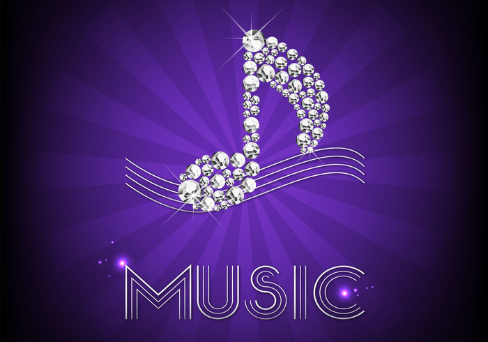 Diamond Music Note Background PSD