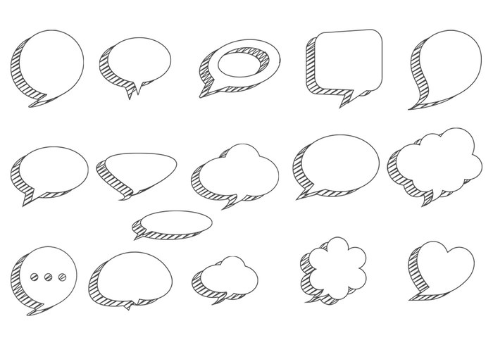 Sketchy Speech Bubbles PSD Pack
