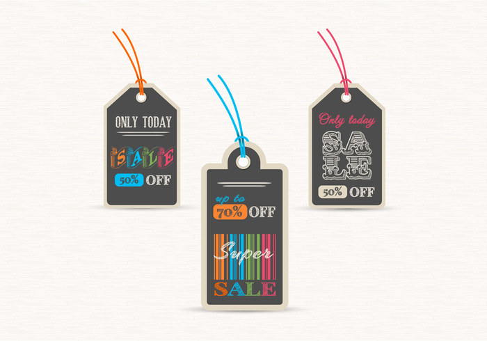 Chalk Board Sale Label Tags PSD Set