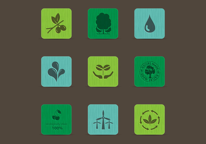 Eco Nature Icons on Colored Wood PSD Set