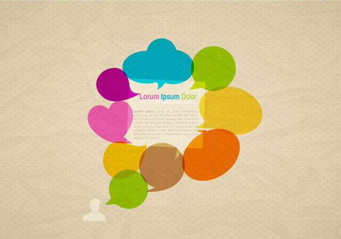 Colorful Speech Bubbles Background PSD