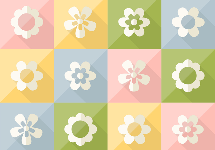 Flowers on Pastel Colored Pattern