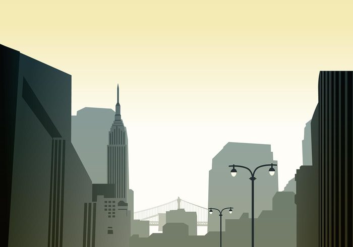 Cityscape Skyline Wallpaper PSD