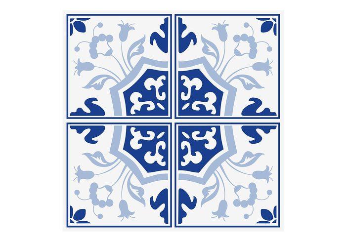 Delft blauwe bloemen tegels psd