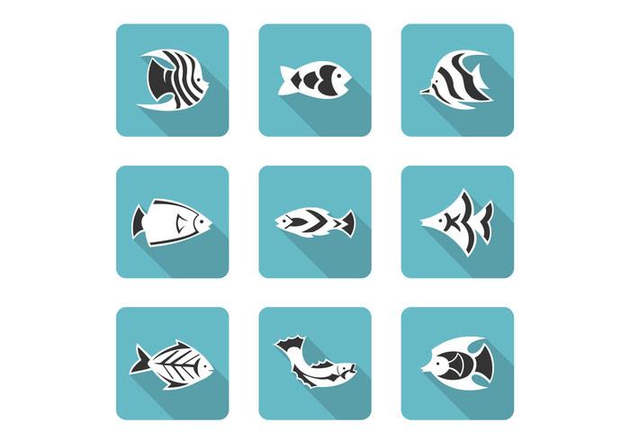 Stylized Fish Icons PSD Set