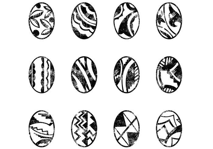 Decorative Grungy Easter Eggs Brushes