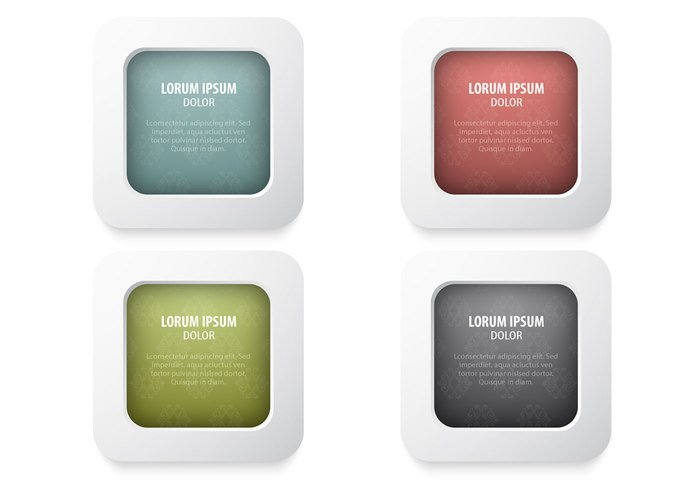 Damask Buttons PSD Pack