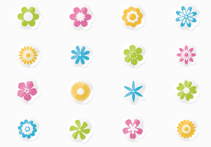 Fresh Floral Stickers PSD Set
