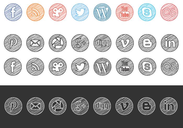 Sketchy Drawn Social Media Icons PSD Pack