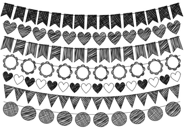 Hand Drawn Doodle Bunting Brushes