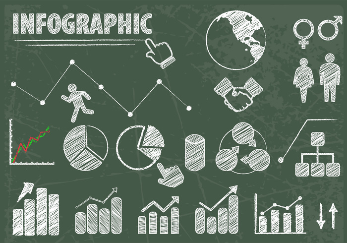 Chalk Drawn Infographic Elements PSD Set
