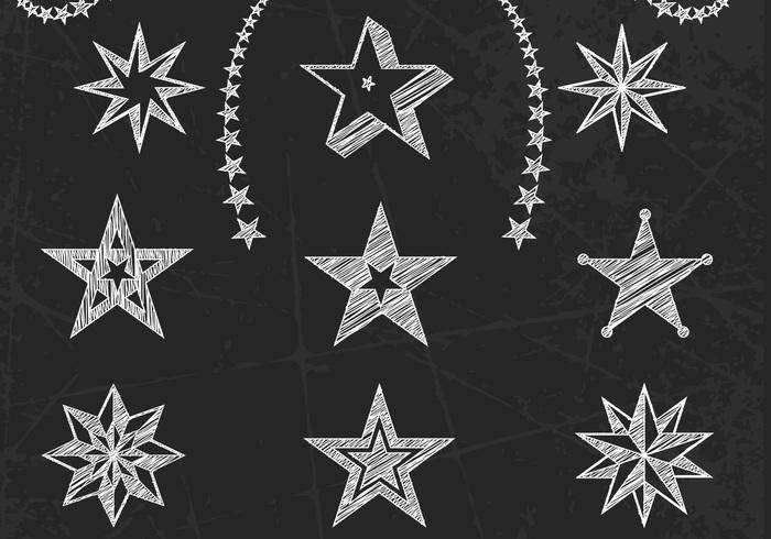 Chalk Drawn Stars PSD Set