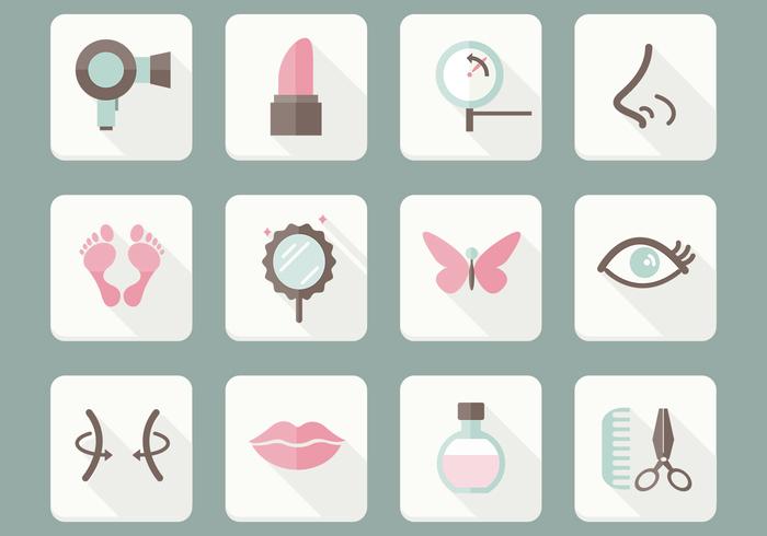 Flat Beauty Care Icons PSD Set