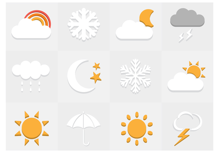Flat Weather Icons PSD Set