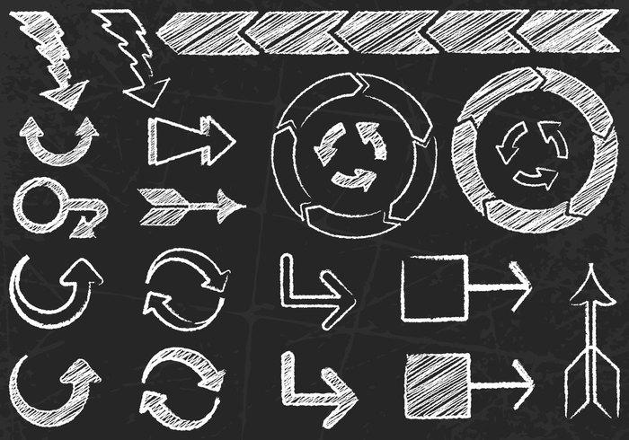 Chalk Drawn Arrows PSD Set