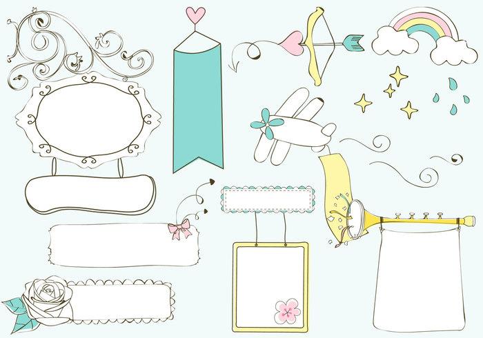 Cute Doodle Banners PSD Set