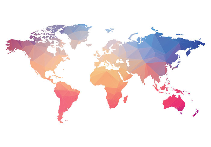 Polygonal World Map PSD