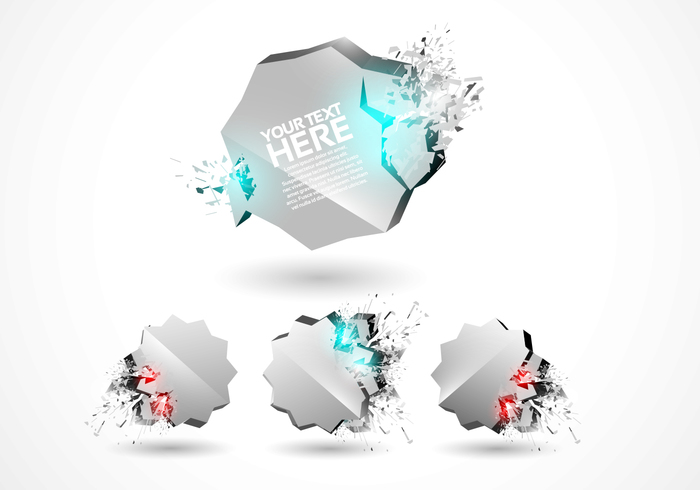 3D Explosion Badges PSD Set