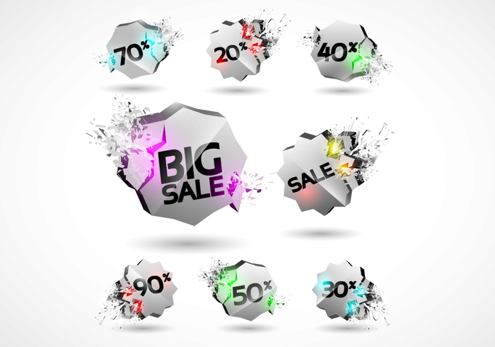 3D Explosion Sale Badges PSD Set