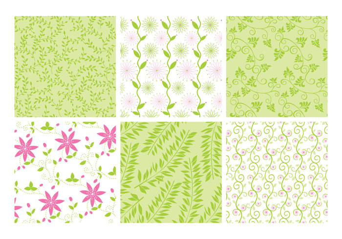 Pink Green Floral Backgrounds PSD Set