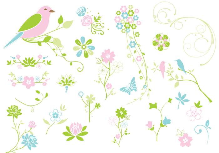 Spring Flourishes Flowers PSD Pack