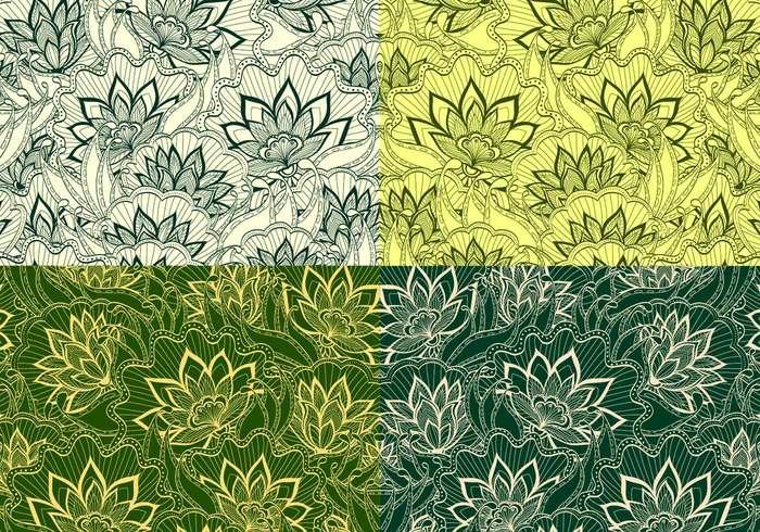Emerald Vintage Floral Patterns