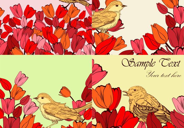 Flowery Bird Backgrounds PSD